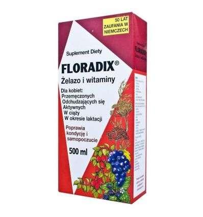 Floradix Żelazo i witaminy w płynnej formule - 500ml - Salus Haus