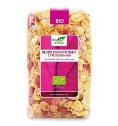 Płatki kukurydziane z truskawkami bio - 250g - Bio Planet