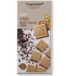 Czekolada Wegańska Biała z Kruszonym Ziarnem Kakao Bezglutenowa Bio - 70g - Biobenjamin