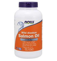 Wild alaskan salmon oli (olej z dzikiego łososia alaskańskiego) - 1000mg x 200 kaps - Now Foods