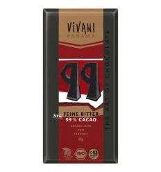 Czekolada gorzka 99% kakao bio - 80g - Vivani