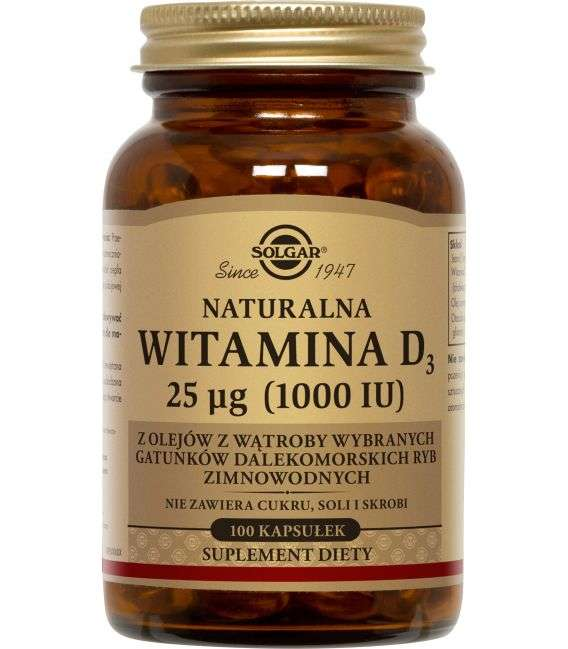 Witamina D3 25ug - 100kaps - Solgar