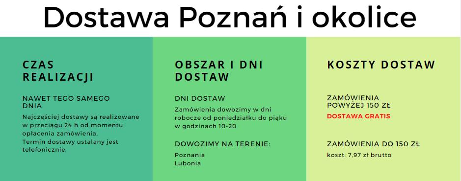 Dostawa Zielarnia Evital. Obszar dostaw: Poznań i Luboń. Koszt dostawy 7,97zł, przy zamówieniu powyżej 150 zł dostawa gratis.